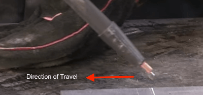 Angle Flux Core Welding Wire Away from Direction of Travel