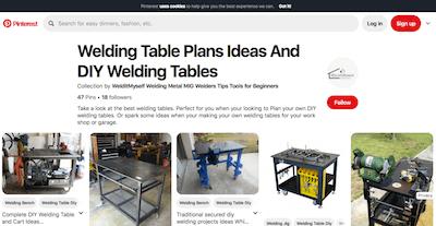 Pinterest Welding Table Board