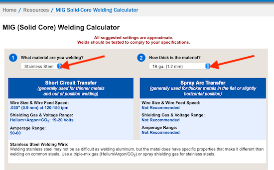 Miller Weld Stainless Steel Welding Calculator